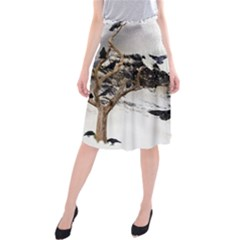 Birds Crows Black Ravens Wing Midi Beach Skirt