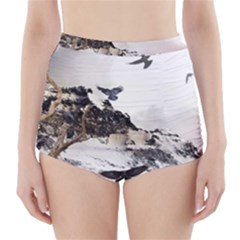 Birds Crows Black Ravens Wing High-Waisted Bikini Bottoms