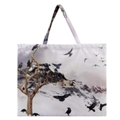 Birds Crows Black Ravens Wing Zipper Large Tote Bag