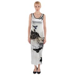 Birds Crows Black Ravens Wing Fitted Maxi Dress
