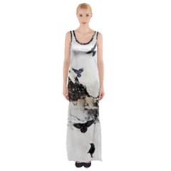 Birds Crows Black Ravens Wing Maxi Thigh Split Dress