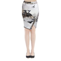 Birds Crows Black Ravens Wing Midi Wrap Pencil Skirt