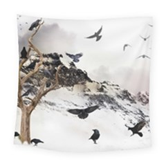 Birds Crows Black Ravens Wing Square Tapestry (large)