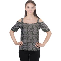 Line Geometry Pattern Geometric Women s Cutout Shoulder Tee