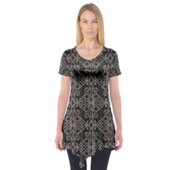 Line Geometry Pattern Geometric Short Sleeve Tunic