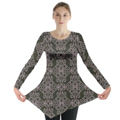 Line Geometry Pattern Geometric Long Sleeve Tunic