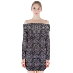 Line Geometry Pattern Geometric Long Sleeve Off Shoulder Dress