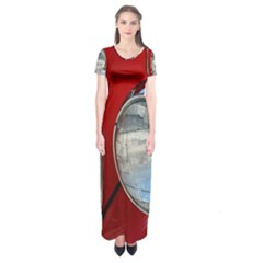 Antique Car Auto Roadster Old Short Sleeve Maxi Dress