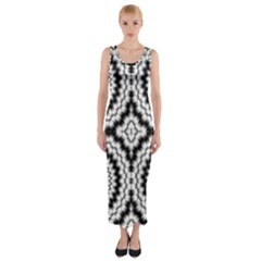 Pattern Tile Seamless Design Fitted Maxi Dress