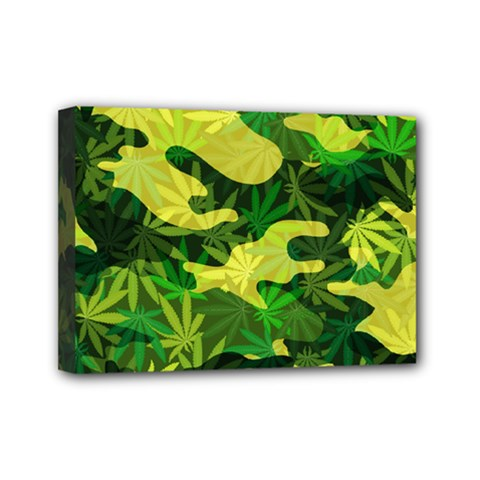 Marijuana Camouflage Cannabis Drug Mini Canvas 7  x 5
