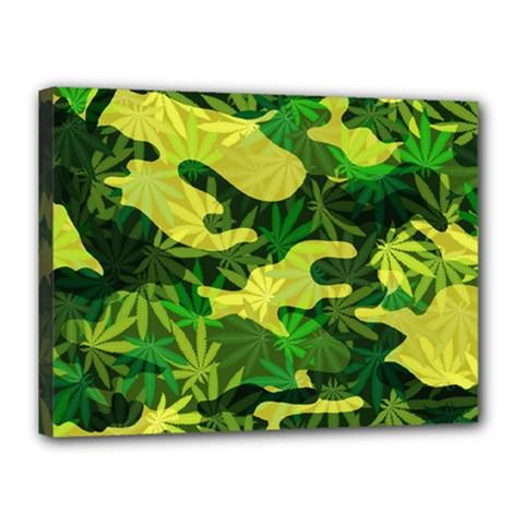Marijuana Camouflage Cannabis Drug Canvas 16  X 12