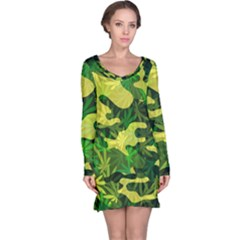 Marijuana Camouflage Cannabis Drug Long Sleeve Nightdress