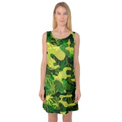 Marijuana Camouflage Cannabis Drug Sleeveless Satin Nightdress