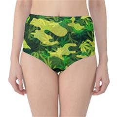 Marijuana Camouflage Cannabis Drug High-Waist Bikini Bottoms