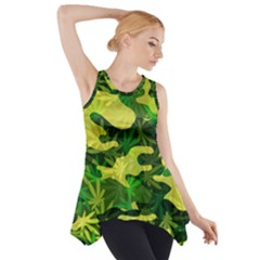 Marijuana Camouflage Cannabis Drug Side Drop Tank Tunic