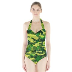 Marijuana Camouflage Cannabis Drug Halter Swimsuit