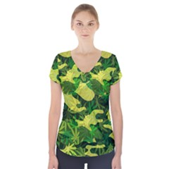 Marijuana Camouflage Cannabis Drug Short Sleeve Front Detail Top