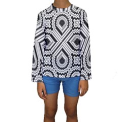 Pattern Tile Seamless Design Kids  Long Sleeve Swimwear