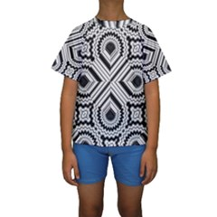 Pattern Tile Seamless Design Kids  Short Sleeve Swimwear