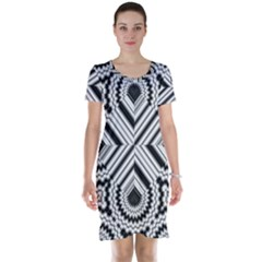 Pattern Tile Seamless Design Short Sleeve Nightdress