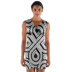 Pattern Tile Seamless Design Wrap Front Bodycon Dress