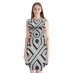Pattern Tile Seamless Design Sleeveless Chiffon Dress