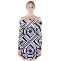 Pattern Tile Seamless Design Long Sleeve Off Shoulder Dress