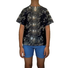 Fractal Math Geometry Backdrop Kids  Short Sleeve Swimwear