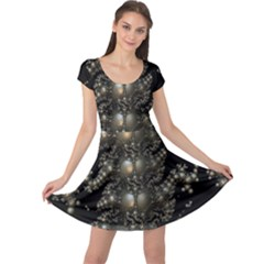 Fractal Math Geometry Backdrop Cap Sleeve Dresses