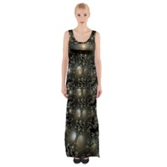 Fractal Math Geometry Backdrop Maxi Thigh Split Dress