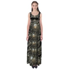 Fractal Math Geometry Backdrop Empire Waist Maxi Dress