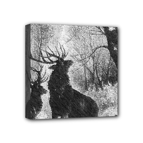Stag Deer Forest Winter Christmas Mini Canvas 4  x 4
