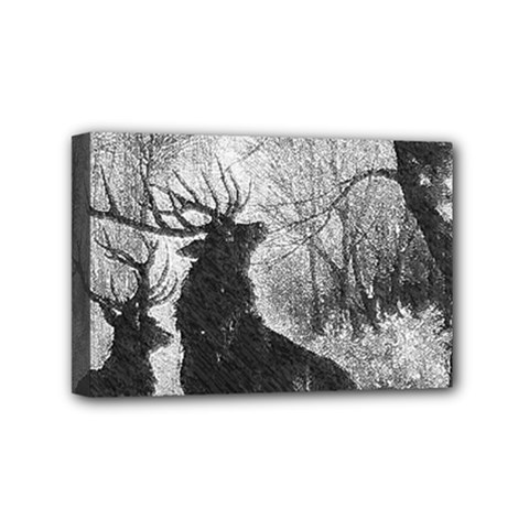Stag Deer Forest Winter Christmas Mini Canvas 6  X 4