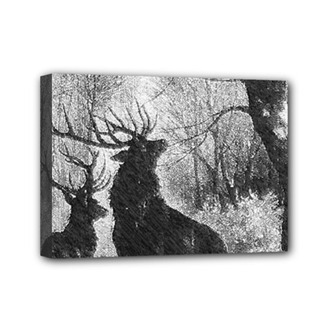Stag Deer Forest Winter Christmas Mini Canvas 7  X 5
