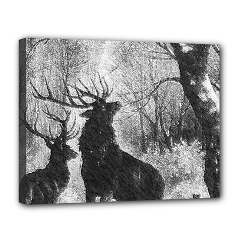 Stag Deer Forest Winter Christmas Canvas 14  x 11