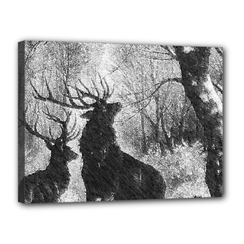 Stag Deer Forest Winter Christmas Canvas 16  x 12