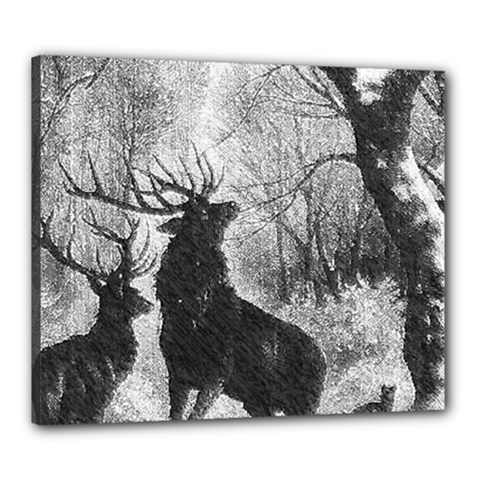 Stag Deer Forest Winter Christmas Canvas 24  x 20