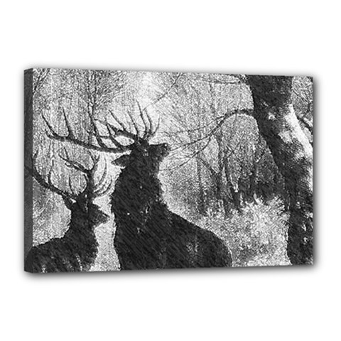 Stag Deer Forest Winter Christmas Canvas 18  X 12