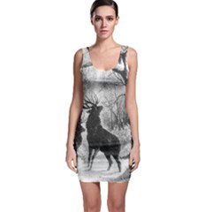 Stag Deer Forest Winter Christmas Sleeveless Bodycon Dress