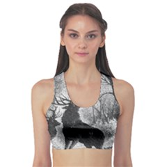 Stag Deer Forest Winter Christmas Sports Bra