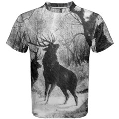Stag Deer Forest Winter Christmas Men s Cotton Tee