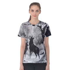 Stag Deer Forest Winter Christmas Women s Cotton Tee