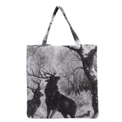 Stag Deer Forest Winter Christmas Grocery Tote Bag