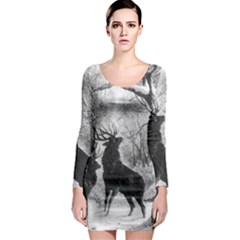 Stag Deer Forest Winter Christmas Long Sleeve Bodycon Dress