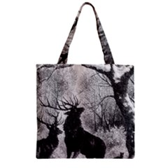 Stag Deer Forest Winter Christmas Zipper Grocery Tote Bag