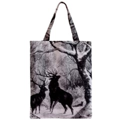 Stag Deer Forest Winter Christmas Zipper Classic Tote Bag
