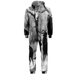 Stag Deer Forest Winter Christmas Hooded Jumpsuit (men)