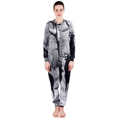 Stag Deer Forest Winter Christmas Onepiece Jumpsuit (ladies)