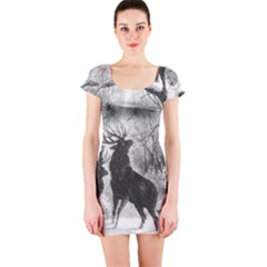 Stag Deer Forest Winter Christmas Short Sleeve Bodycon Dress