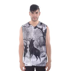Stag Deer Forest Winter Christmas Men s Basketball Tank Top
